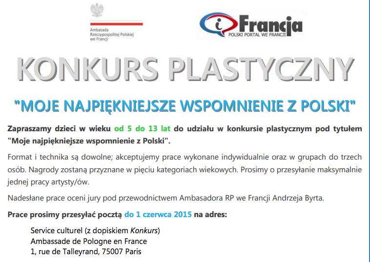 """Konkurs plastyczny dla dzieci """"Moje najpiękniejsze wspomnienie z Polski"""""""