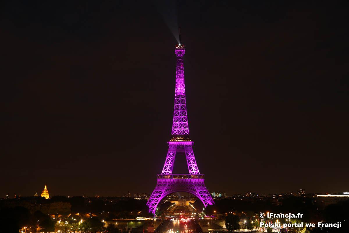 Dziś wieża Eiffla została oświetlona na różowo, aby wesprzeć walkę z rakiem piersi