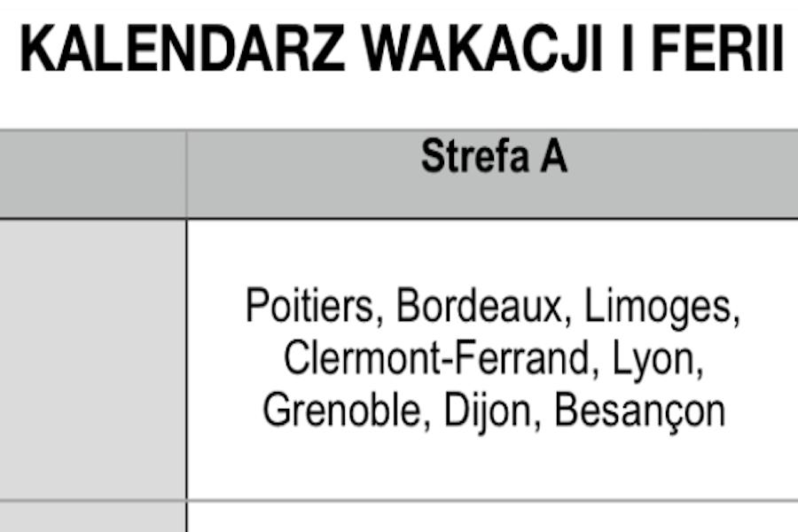 Kalendarz wakacji szkolnych we Francji 2018/2019