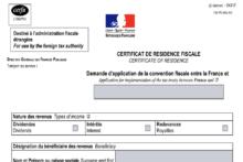 Certyfikat rezydencji podatkowej – Informacja dotycząca formularza 730-FR-ANG-SD