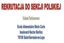 Rekrutacja do Sekcji Polskiej w szkole podstawowej w Saint-Germain-en-Laye