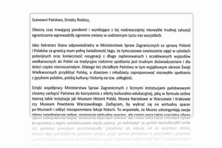 List Ministra Szymona Szynkowskiego vel Sęk skierowany do Polonii z okazji Świąt Wielkiej Nocy