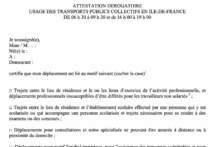 Oświadczenie o konieczności skorzystania z środków transportu publicznego Ile-de-France w godzinach szczytu