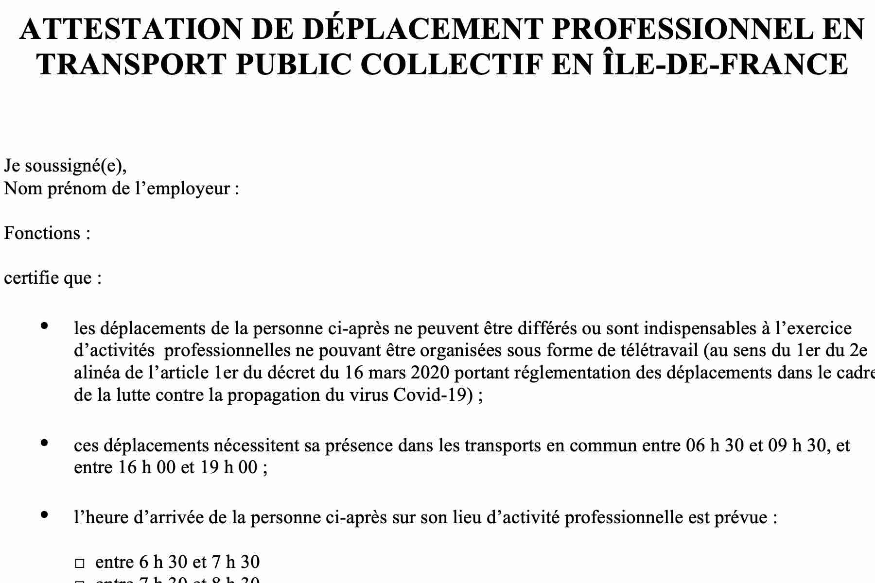 Zaświadczenie od pracodawcy konieczne w środkach transportu publicznego Ile-de-France