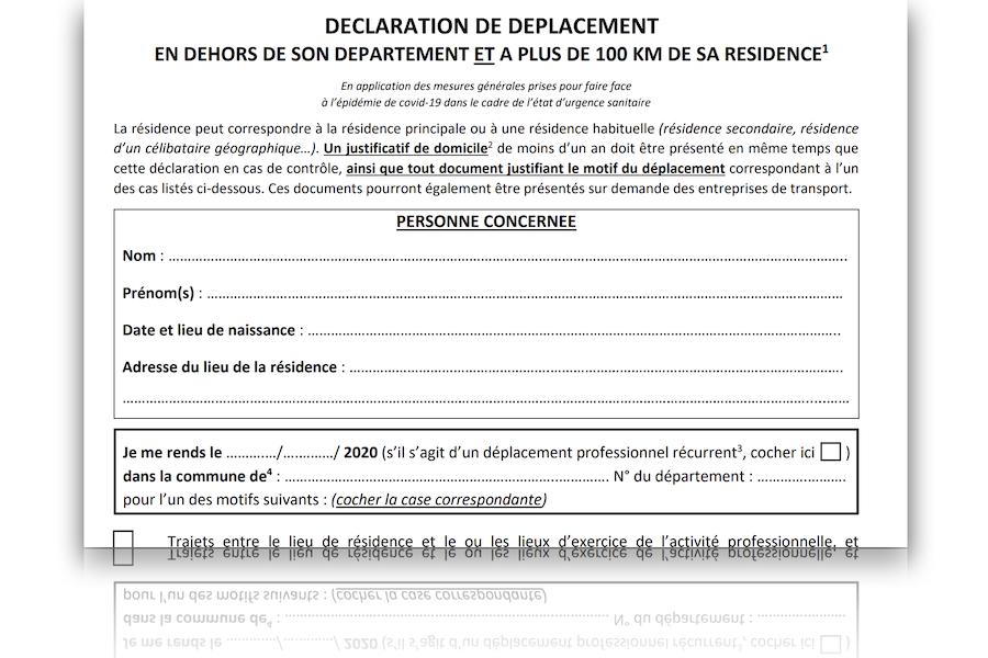 Dokument, który trzeba posiadać podróżując na odległość powyżej 100 km od miejsca i departamentu zamieszkania