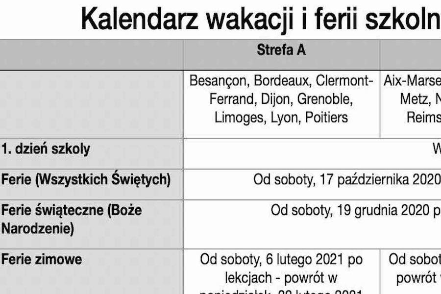 Kalendarz wakacji i ferii szkolnych we Francji 2020/2021