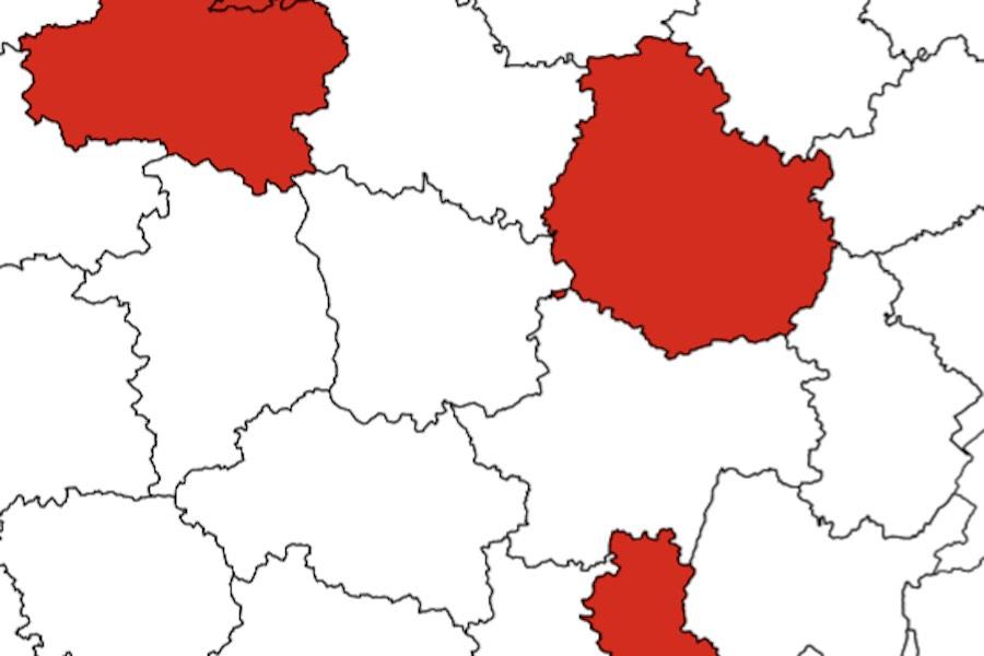 55 departamentów zakwalifikowano już do czerwonej strefy