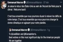 Macron: z zadowoleniem przyjmuję powrót USA do porozumienia klimatycznego