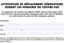 Oświadczenie dotyczące przemieszczania się podczas godziny policyjnej (od godz. 18 do 6)