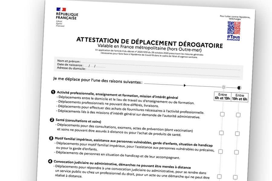 Nowe oświadczenie o celu przemieszczania się, które obowiązuje już w całej Francji